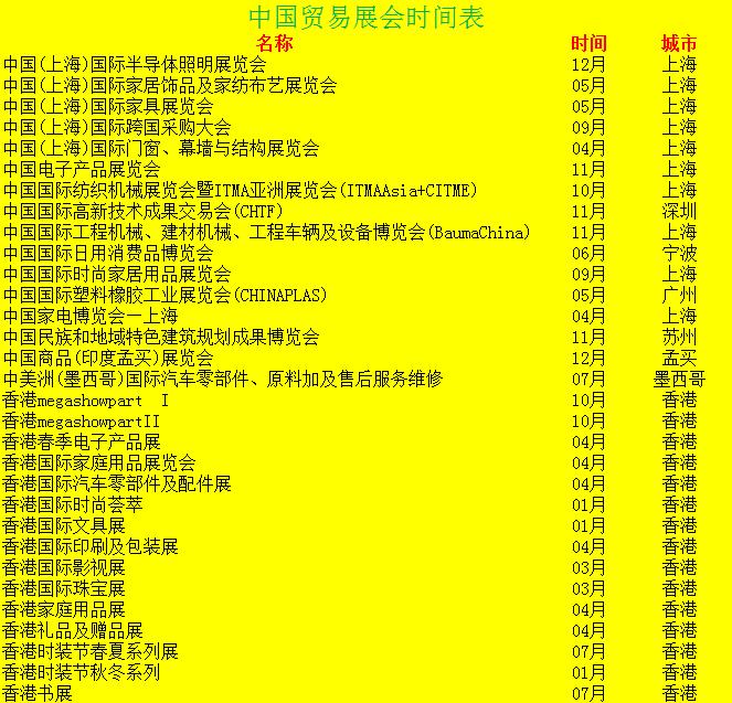 中国贸易展会时间表